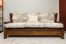 Queen size hide-a-bed with comfortable mattress.