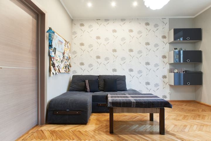 Cozy room with a balcony in two room flat