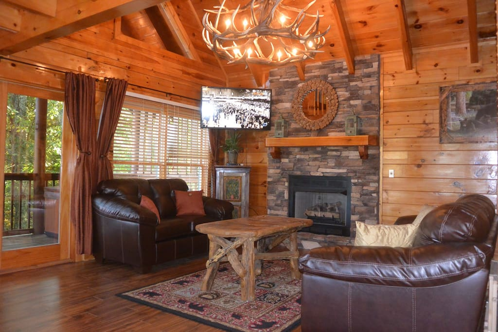 Living area- elk chandelier, queen sleeper sofa, gas fireplace, large LED TV