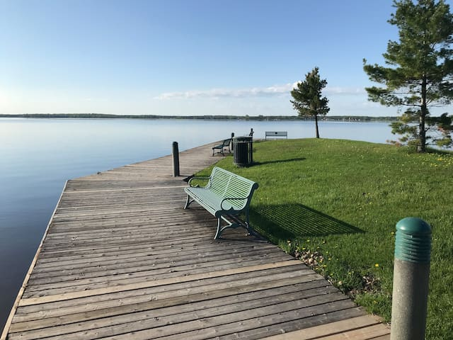 Beautiful Bay of Quinte view of nearby boat launch docks