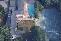 Aerial view, side of the house.