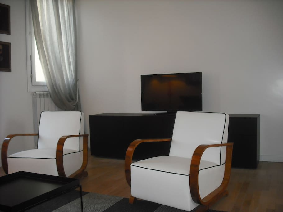 Living room with two skin black armchairs and TV