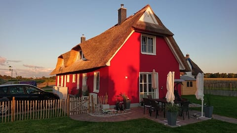 Modern und klassisches Reetdachhaus Elve; mit eigener Sauna und Terrasse
