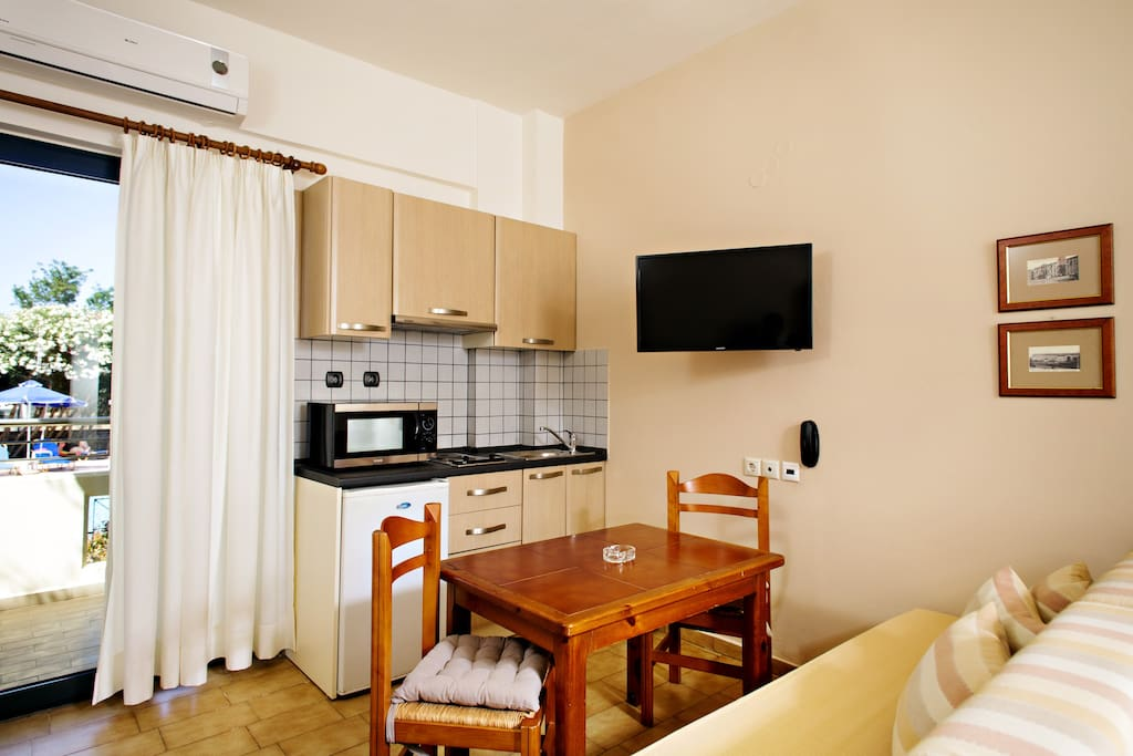 Each studio has a fully equipped kitchennette