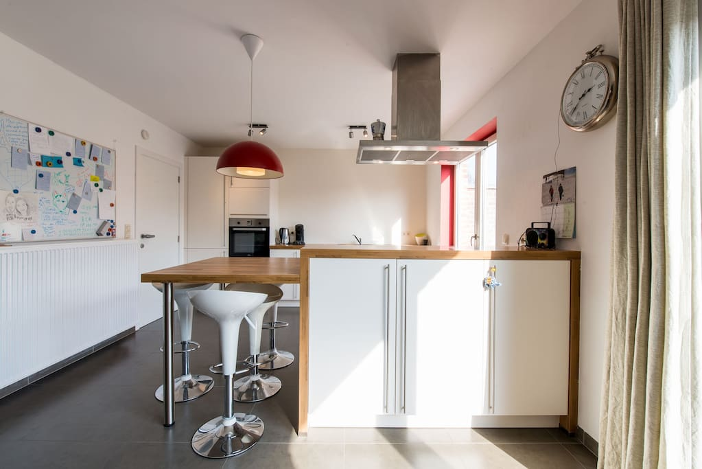 The fully equipped kitchen is ready for usage.