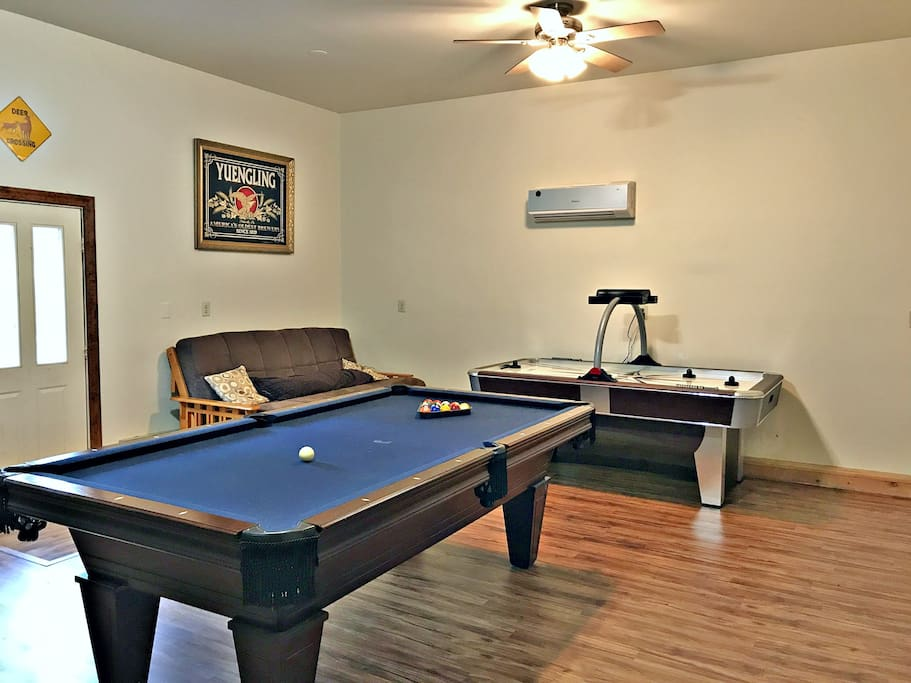 Game room view to professional air hockey table