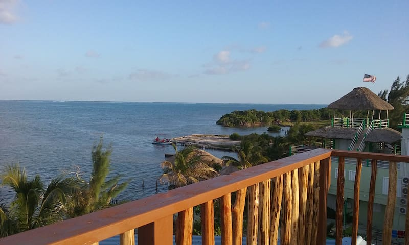 Roof deck overlooking the reef and the lagoon side.
