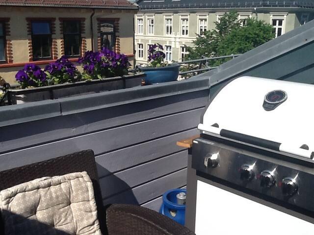 Loftsleilighet med solfylt terrasse