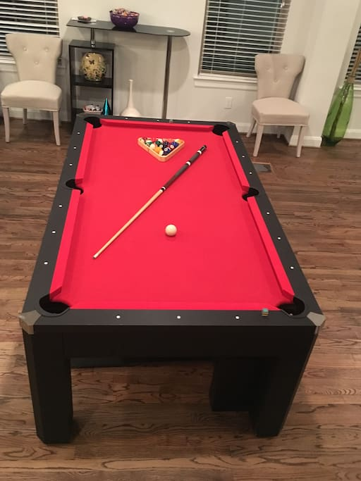 Pool table is also a ping pong table and regular tabletop!