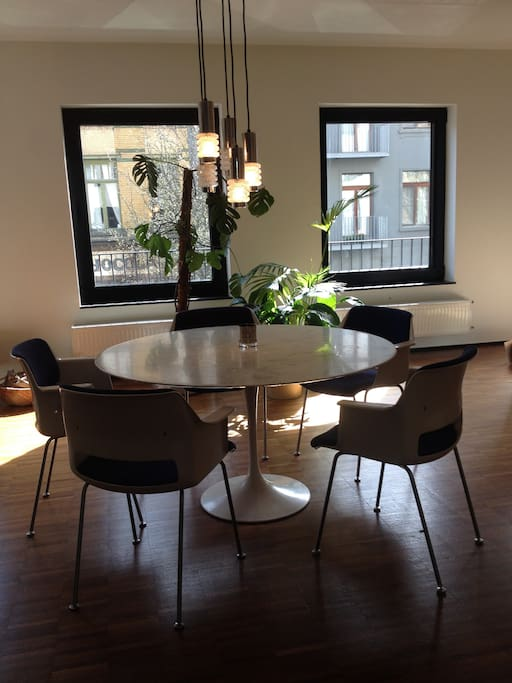 Round dinner table in living room