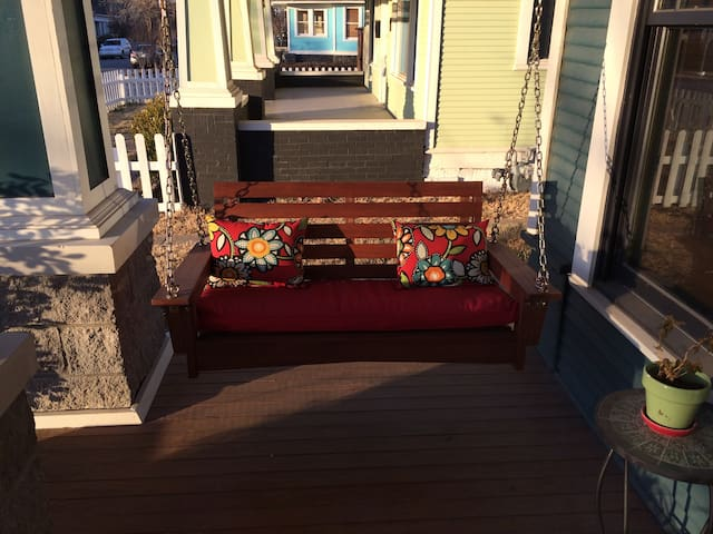 Swing and relax on the front porch swing.