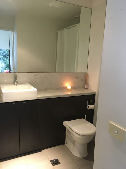 Your private ensuite, complete with a stand up shower.