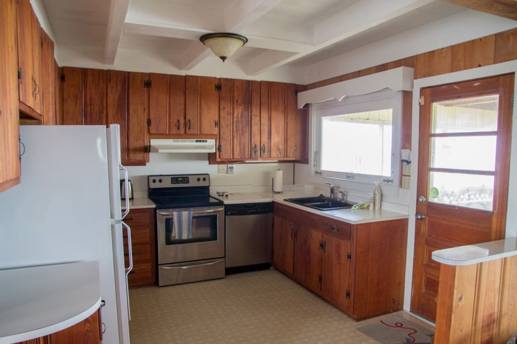 Kitchen with full amenities and ocean views.