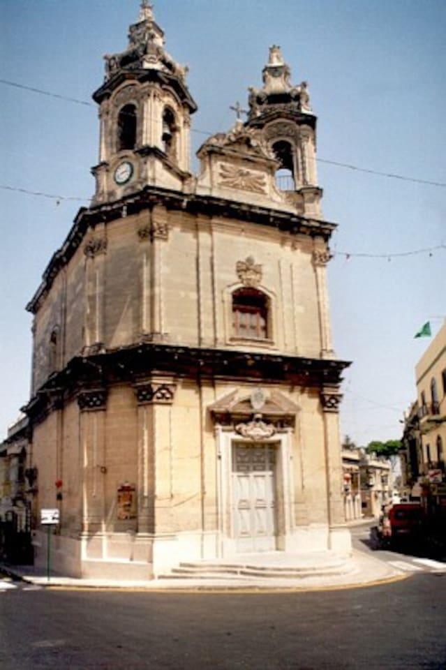 small church facing flat