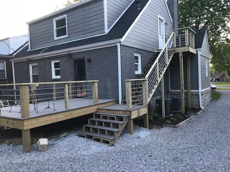 Newly renovated steps and back deck