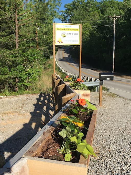 Entrance to Bee Creek Campground where the Happy Camper is located.