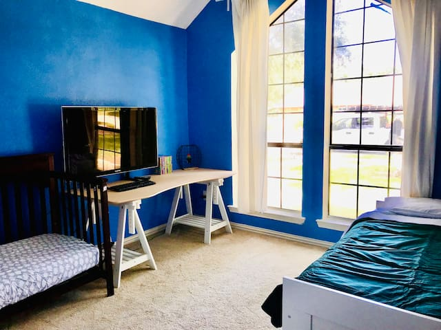 Kids room with a single bed and a bed for a toddler.