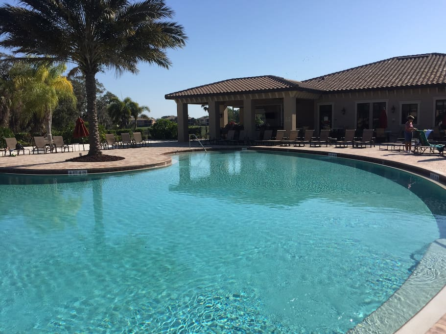 Resort pool area by clubhouse
