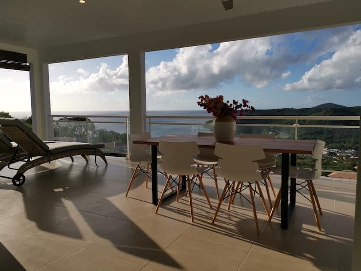 Magnifique villa avec vue sur la mer des Caraïbes