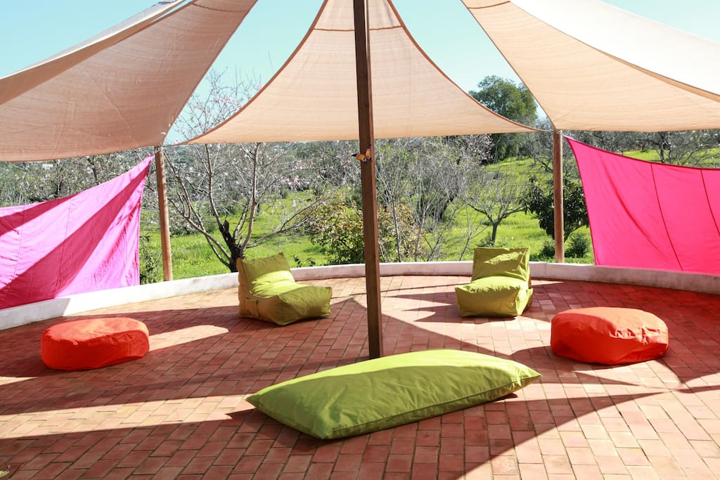Shaded pavilion with bean bags to relax