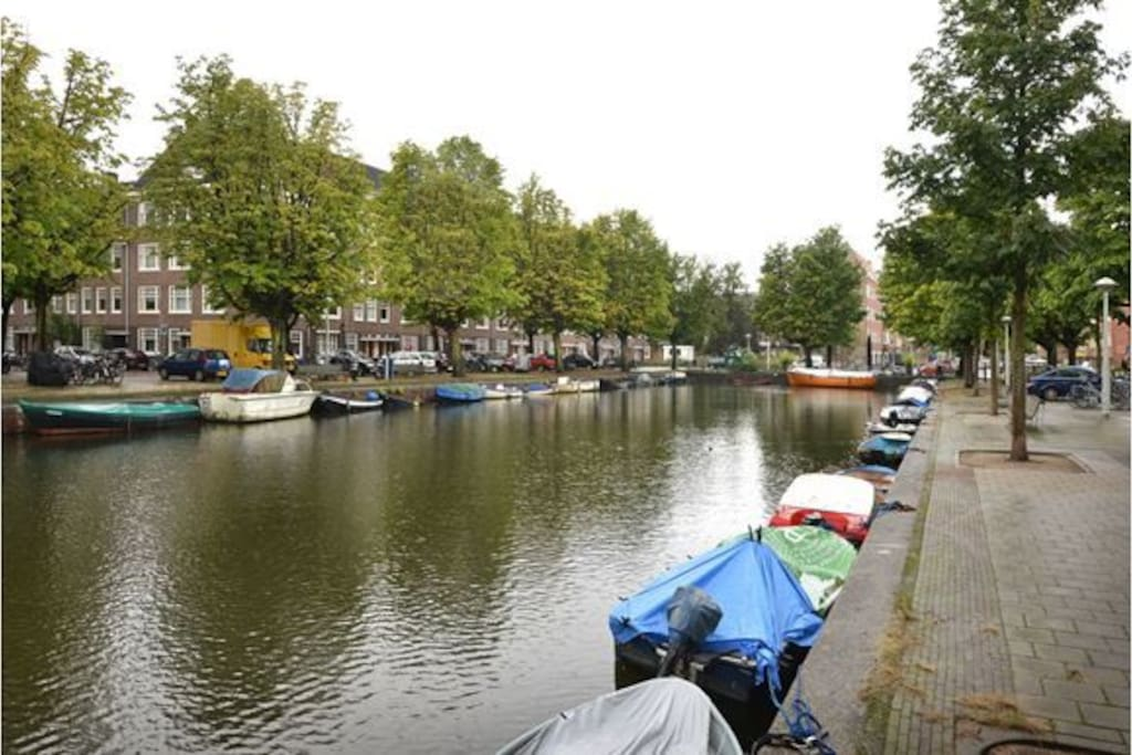 The 'Rijpgracht' at the end of my street. There's a nice cafe to have a coffee or a drink and sit at the water.