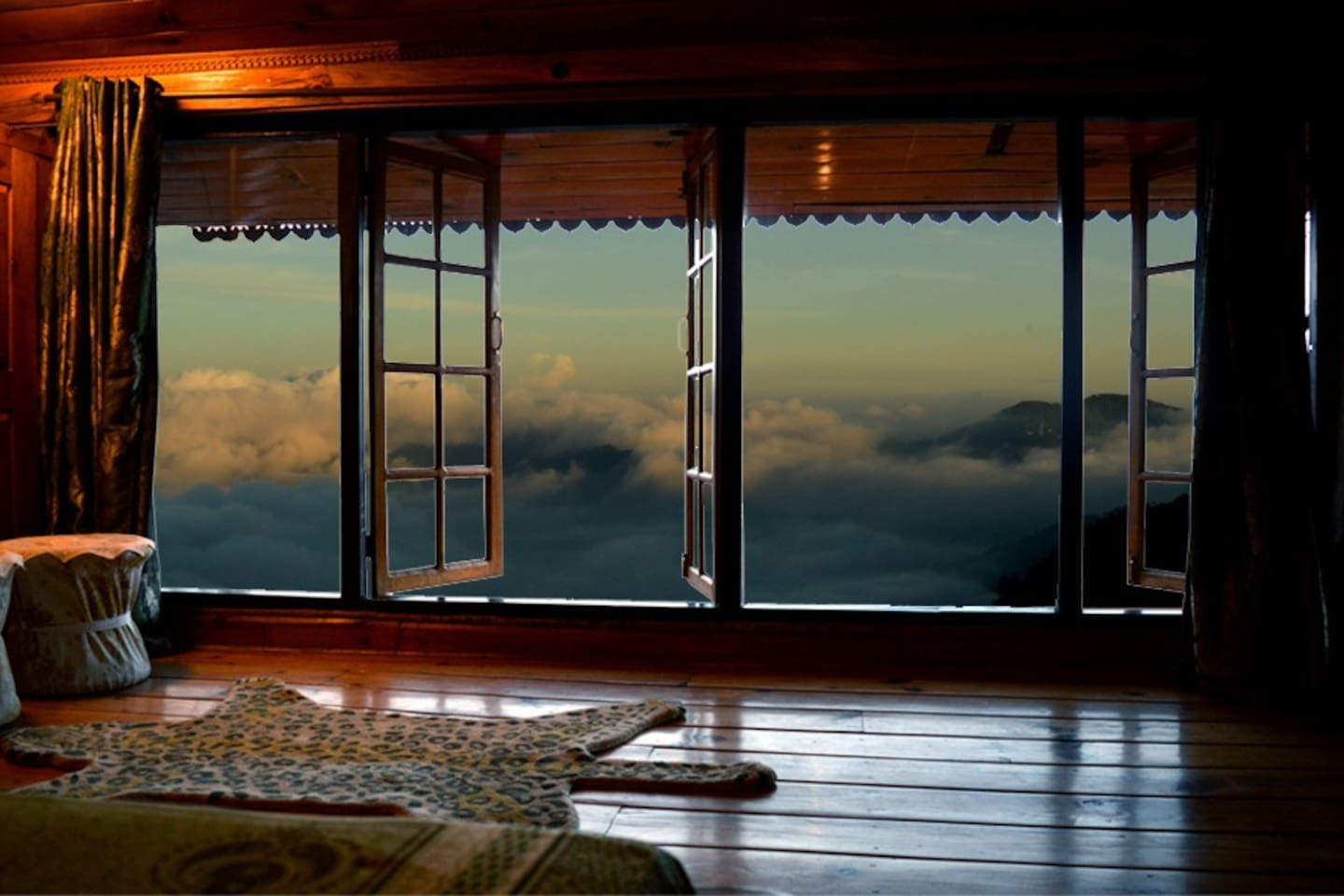 Monsoon clouds surrounding the chalet.
