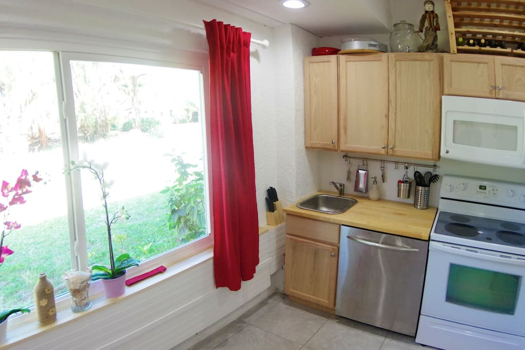 Bright and newly installed kitchen with all appliances you need.