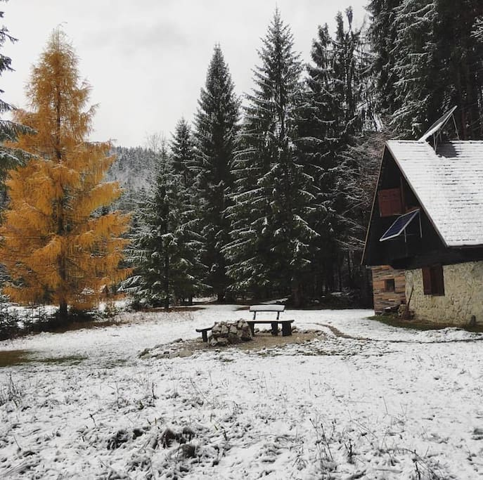 The cabin in winter - first snow.   Sauna is behind and to the side.