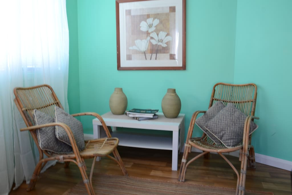 The lovely bright sitting area in the studio.