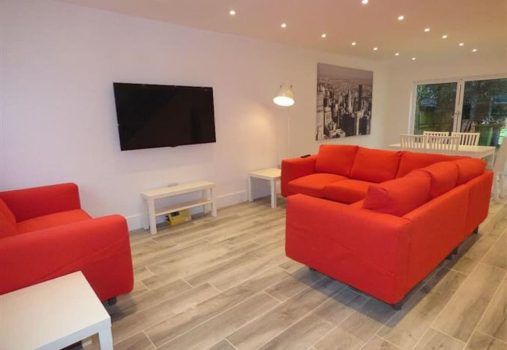 Ample sofa seating with large plasma TV