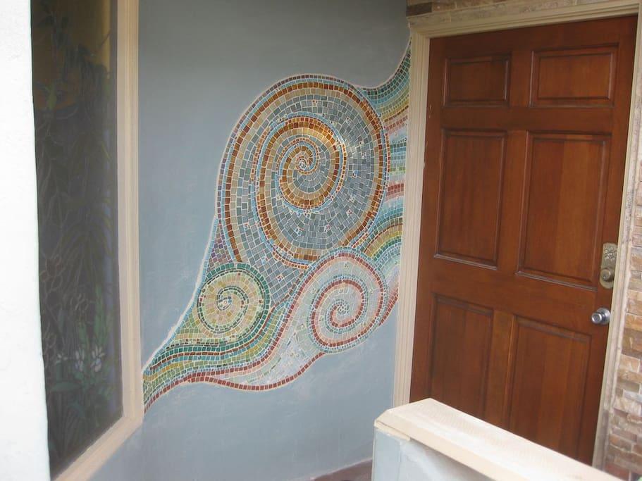 Custom mosaic at entry