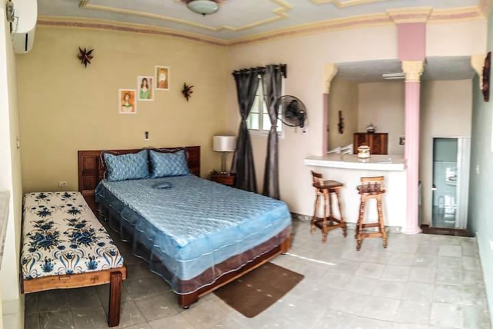 Habitación con cocina y baño privado en el centro.