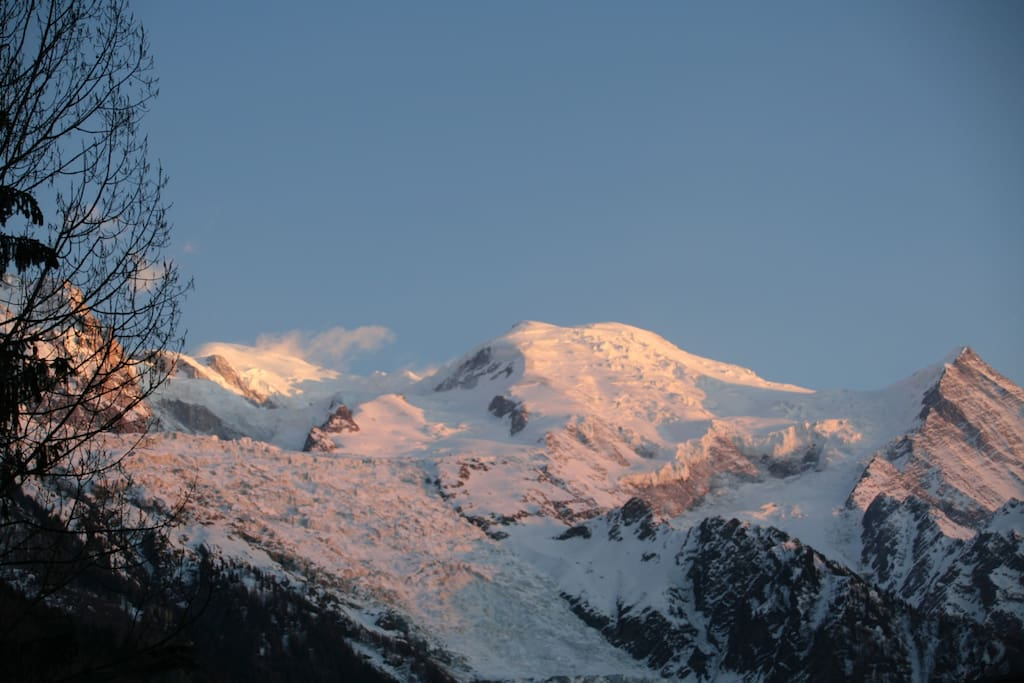 Sunset view of Mt Blanc from apartment.