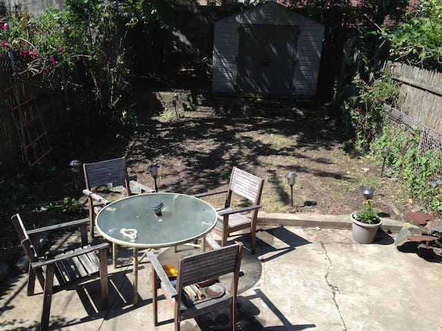 The backyard with a bbq