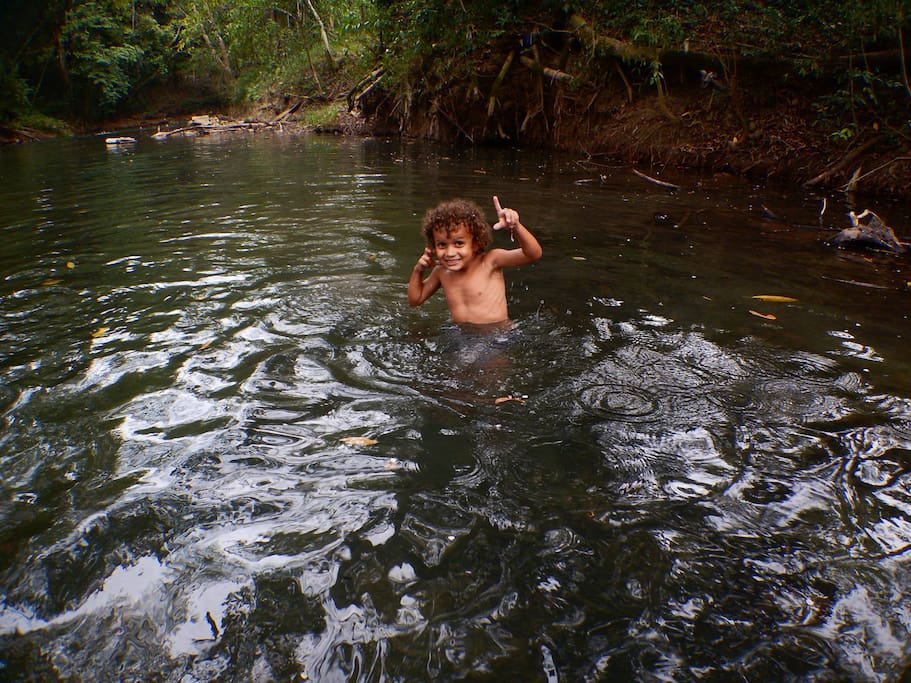 My son (age 4) cooling off in the river. It's spring -fed, cold, and refreshing.