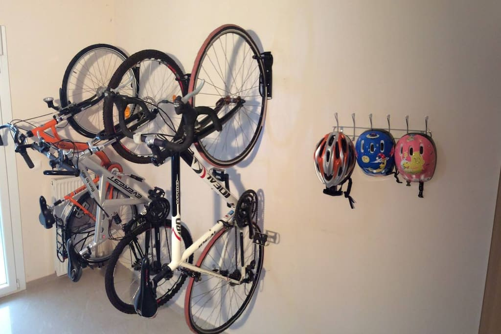 safe parking space and some bikes you can rent from the local bike shop