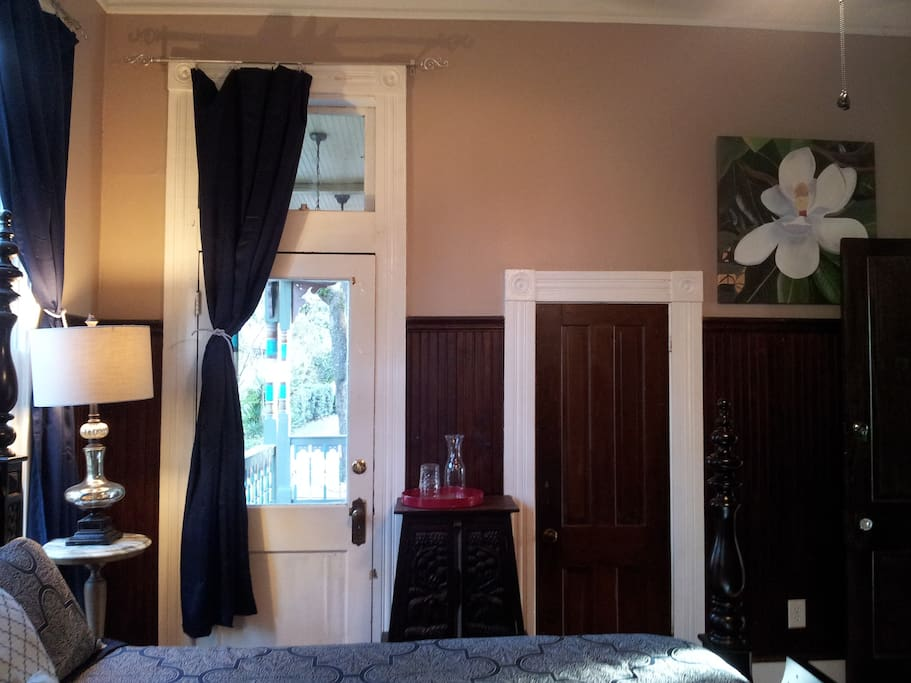 The Magnolia Room has private access to front porch.