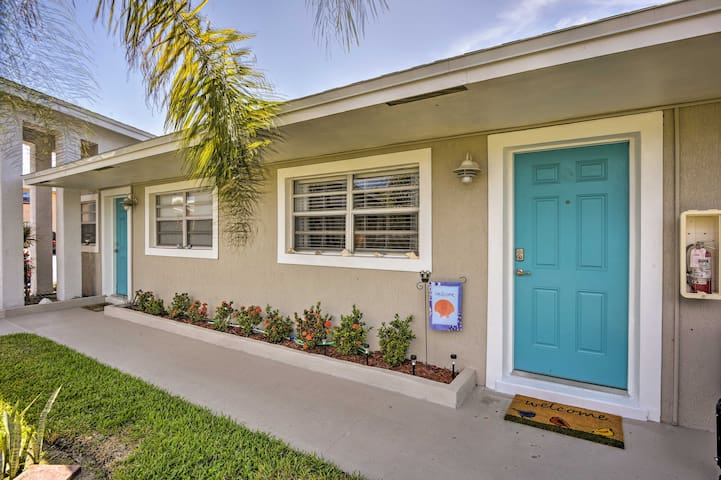 A bright blue door welcomes you home every day!