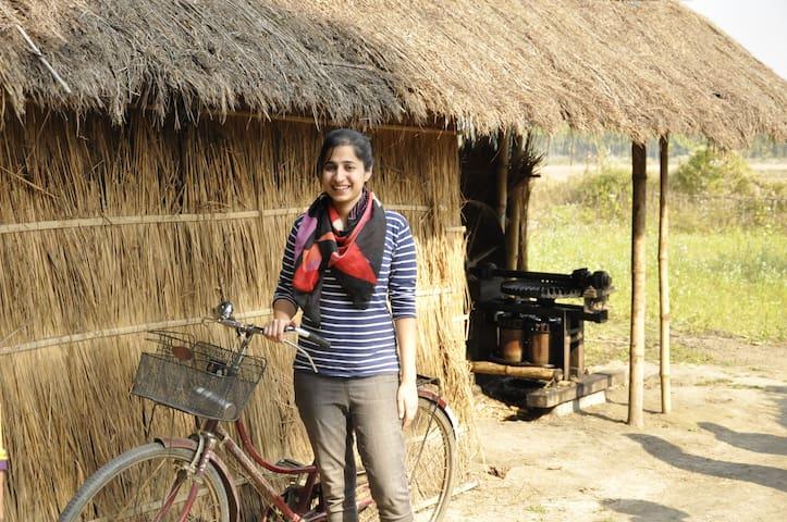 Guests Biking around the village!
