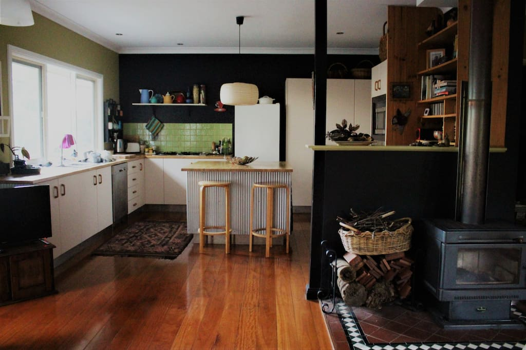 Large kitchen/Slow combustion heater.
