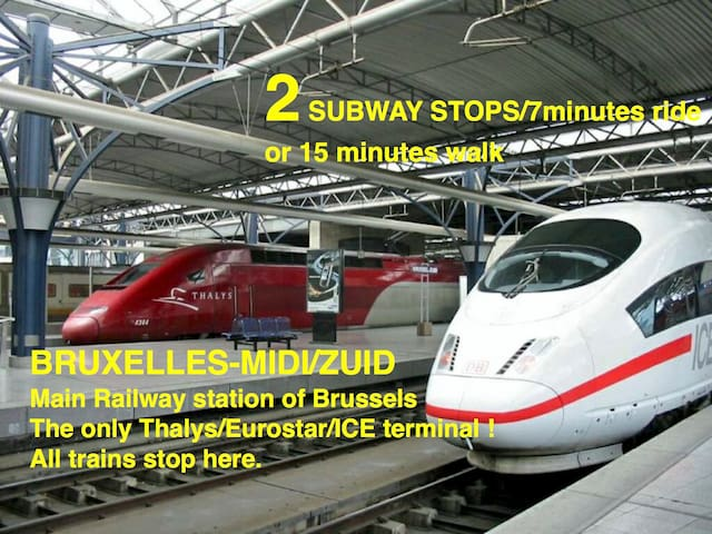 15min. walk or 15min. journey door to door from Gare du Midi (South railway station) Ideal for early/late departures
