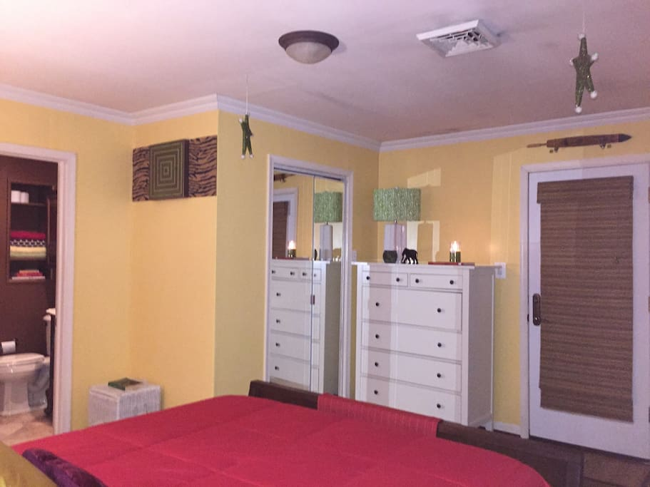 Custom closet and large dresser with lots of storage space!
