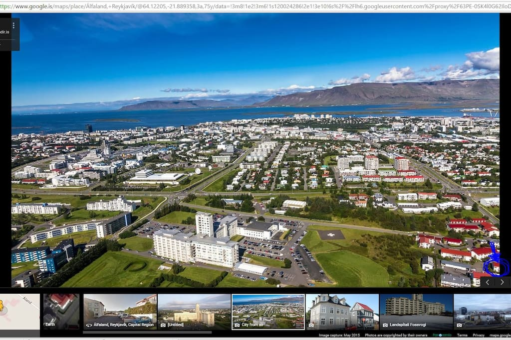 Air view of (a part of) Reykjavik
