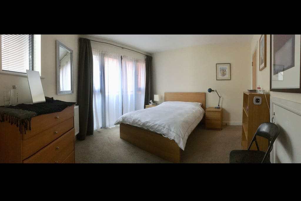 bright spacious bedroom with all essentials provided