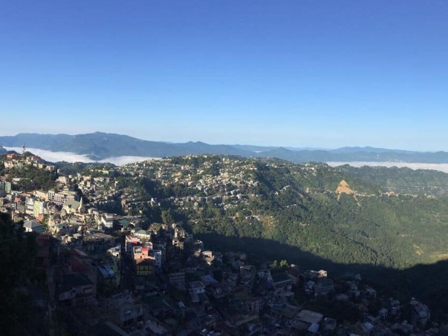 View from the bedroom  towards Aizawl city and Reiek Tlang