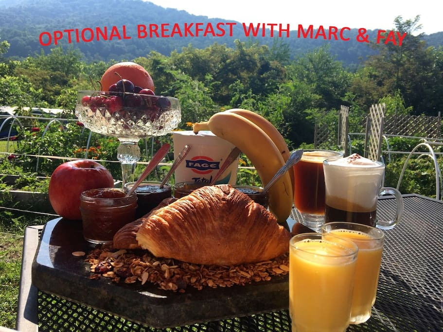 Optional 9am Breakfast Served on Sunrise Deck (10/pp) Including Fresh Baked Croissants, Marc's Home-Made Jams & Speciality Coffees, etc.