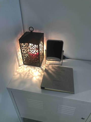 Candle warmer, mirror, guest book