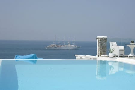 Mykonos Sea View Luxury villa -pool-kite surf-yoga