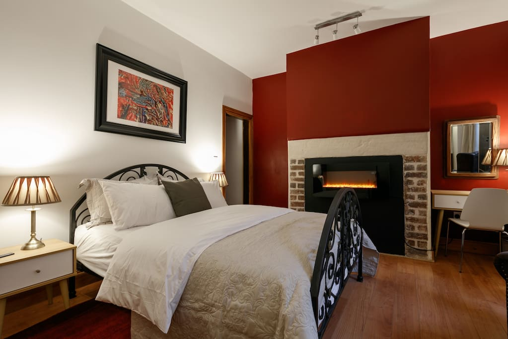 Bedroom with fire