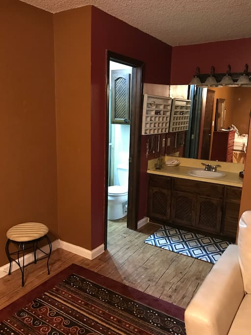 Private bathroom, vanity, and shower